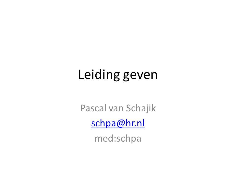 Pascal van Schajik schpa@hr.nl med:schpa