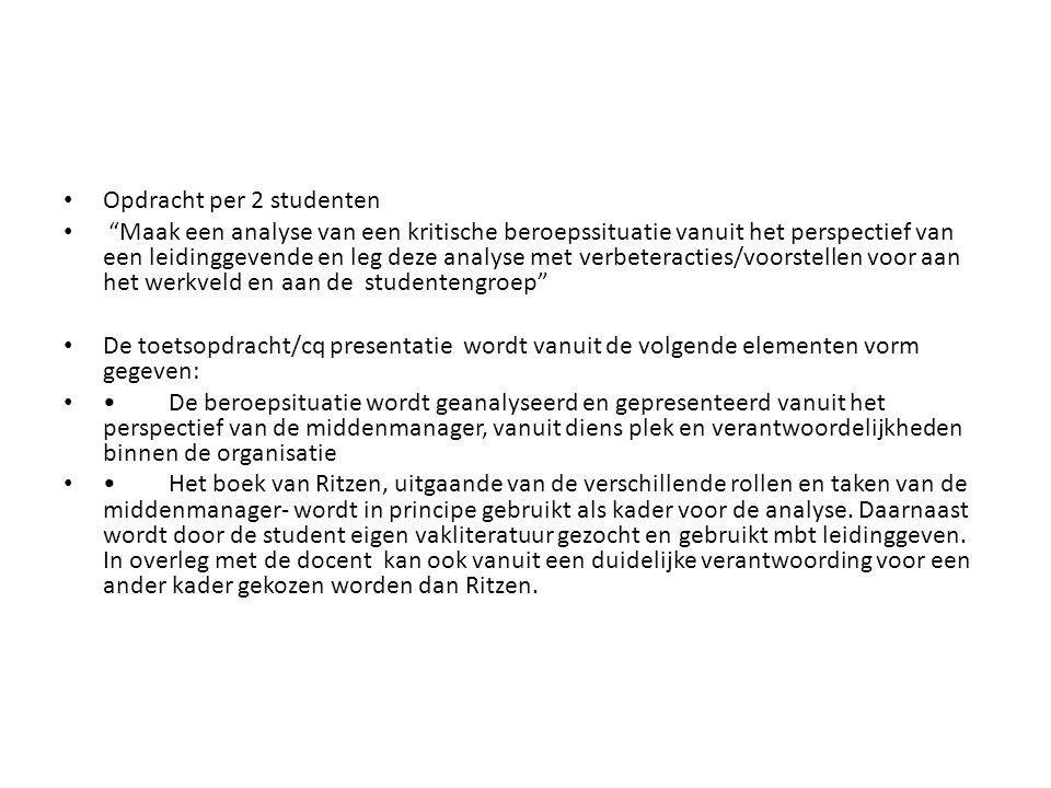 Opdracht per 2 studenten