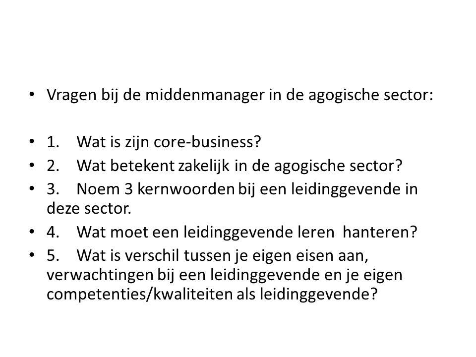 Vragen bij de middenmanager in de agogische sector: