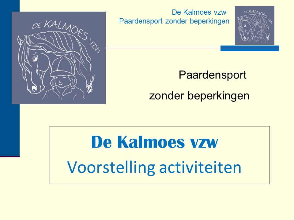 De Kalmoes vzw Voorstelling activiteiten