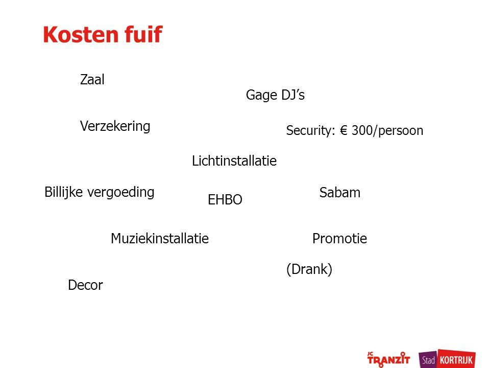 Kosten fuif Zaal Gage DJ's Verzekering Lichtinstallatie