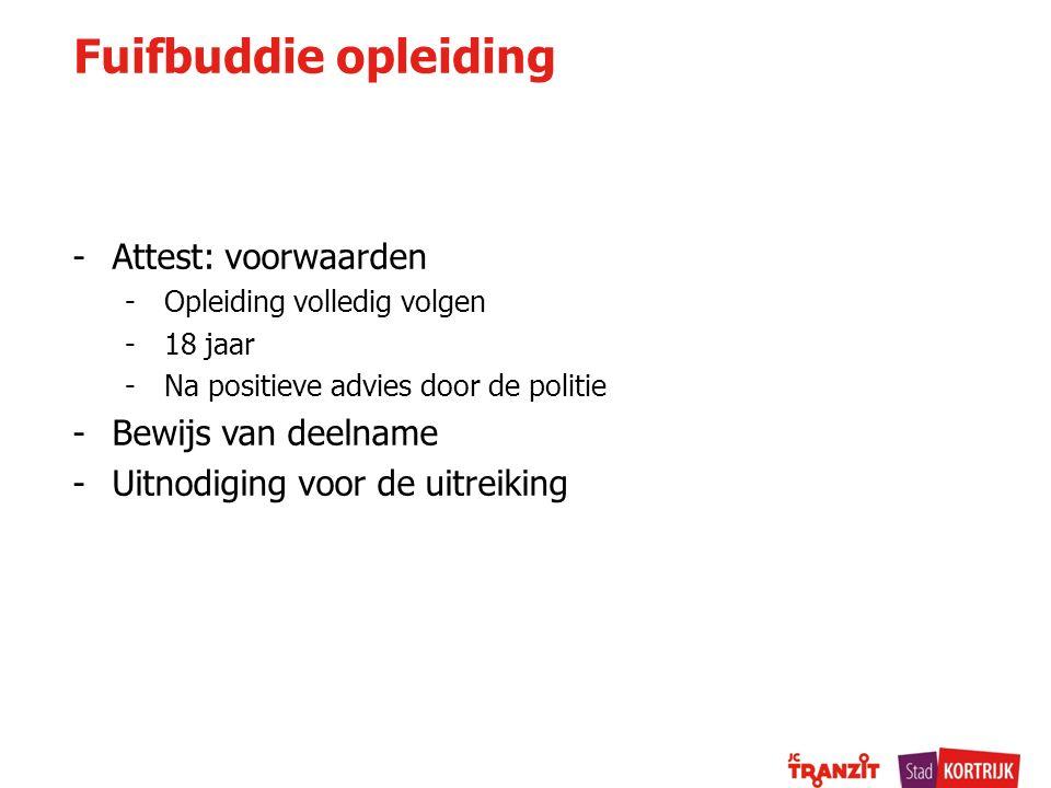 Fuifbuddie opleiding Attest: voorwaarden Bewijs van deelname