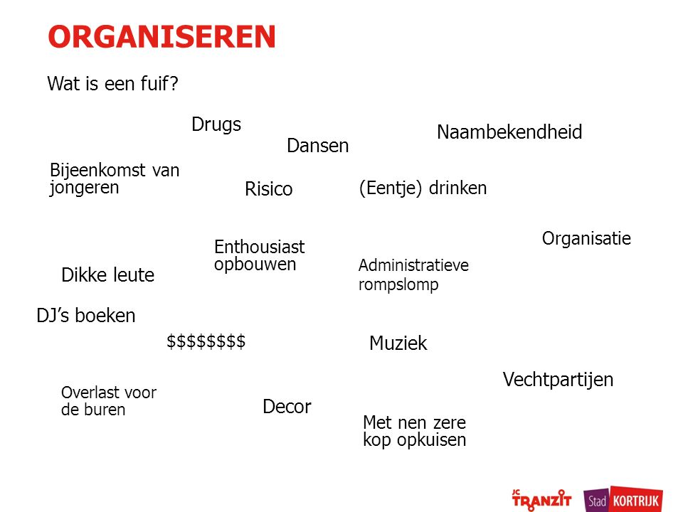 ORGANISEREN Wat is een fuif Drugs Naambekendheid Dansen Risico
