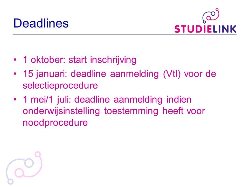 Deadlines 1 oktober: start inschrijving