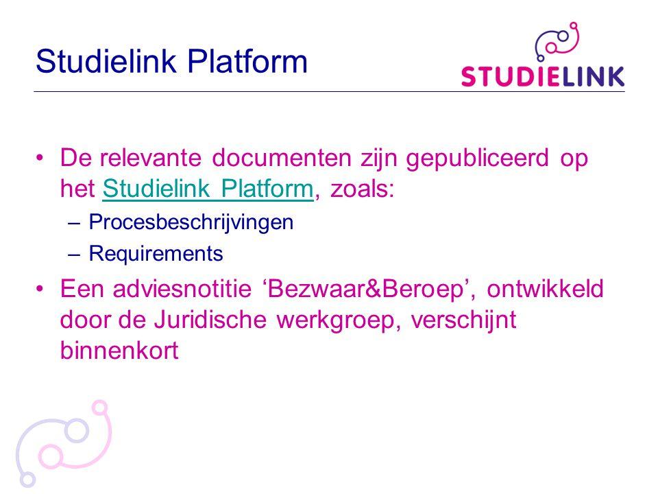 Studielink Platform De relevante documenten zijn gepubliceerd op het Studielink Platform, zoals: Procesbeschrijvingen.