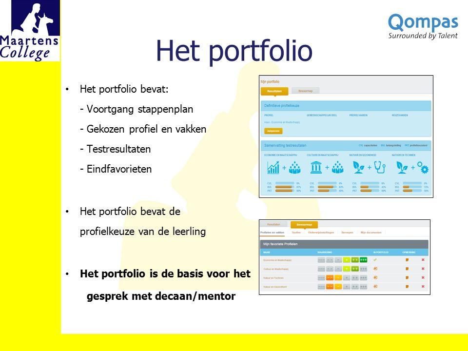 Het portfolio Het portfolio bevat: - Voortgang stappenplan - Gekozen profiel en vakken - Testresultaten - Eindfavorieten.
