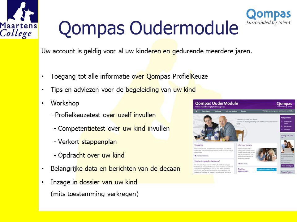 Qompas Oudermodule Uw account is geldig voor al uw kinderen en gedurende meerdere jaren. Toegang tot alle informatie over Qompas ProfielKeuze.