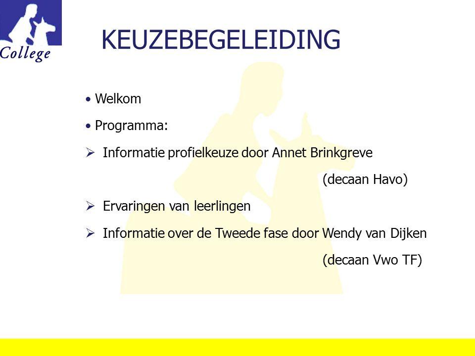 KEUZEBEGELEIDING Welkom Programma: