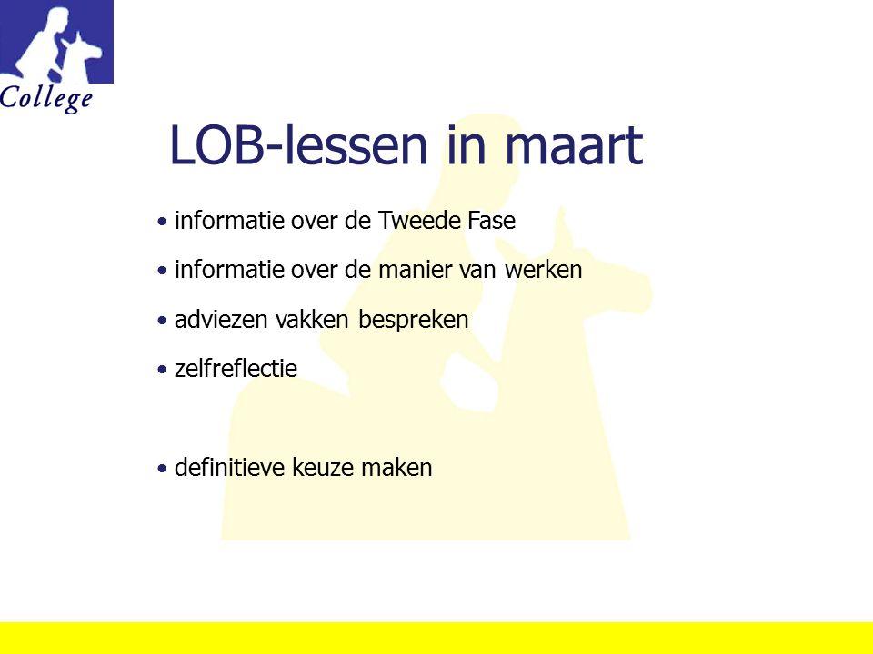 LOB-lessen in maart informatie over de Tweede Fase