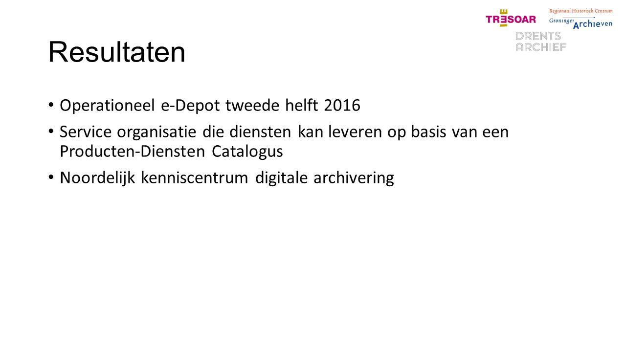 Resultaten Operationeel e-Depot tweede helft 2016