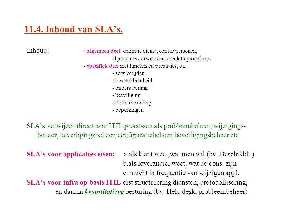 11.4. Inhoud van SLA's. Inhoud: - algemeen deel: definitie dienst, contactpersonen, algemene voorwaarden, escalatieprocedures.