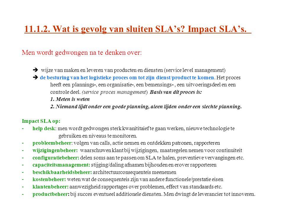 11.1.2. Wat is gevolg van sluiten SLA's Impact SLA's.