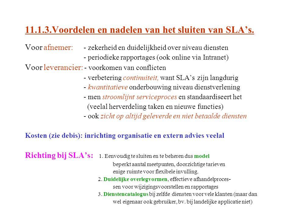 11.1.3.Voordelen en nadelen van het sluiten van SLA's.