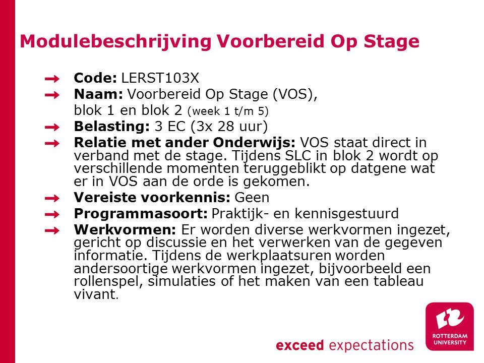 Modulebeschrijving Voorbereid Op Stage