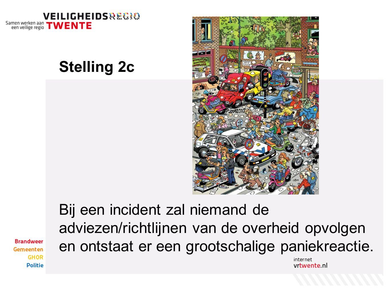 Stelling 2c Bij een incident zal niemand de adviezen/richtlijnen van de overheid opvolgen en ontstaat er een grootschalige paniekreactie.