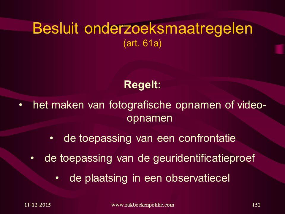 Besluit onderzoeksmaatregelen (art. 61a)