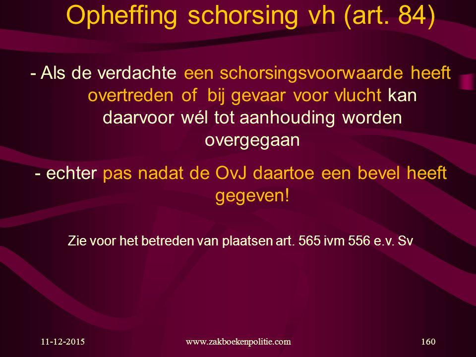 Opheffing schorsing vh (art. 84)