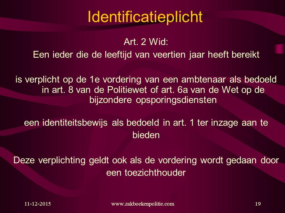 Identificatieplicht Art. 2 Wid: