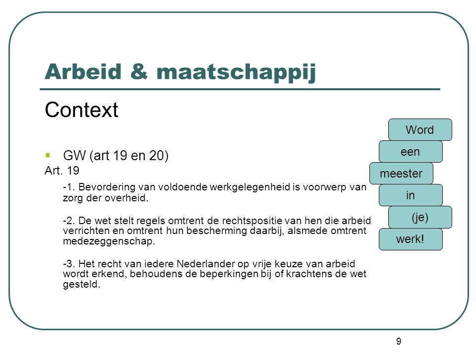 Arbeid & maatschappij Context GW (art 19 en 20)