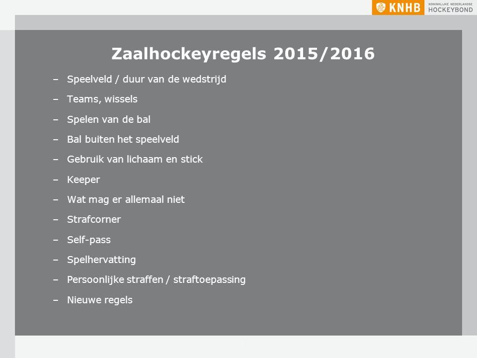 Zaalhockeyregels 2015/2016 Speelveld / duur van de wedstrijd