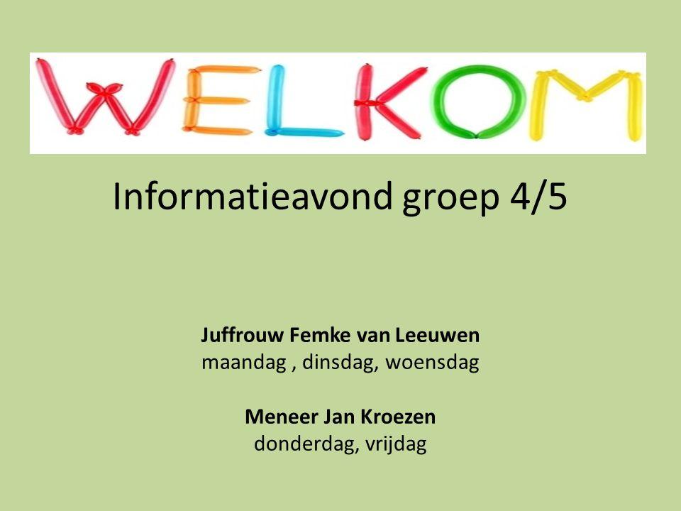Informatieavond groep 4/5 Juffrouw Femke van Leeuwen maandag , dinsdag, woensdag Meneer Jan Kroezen donderdag, vrijdag
