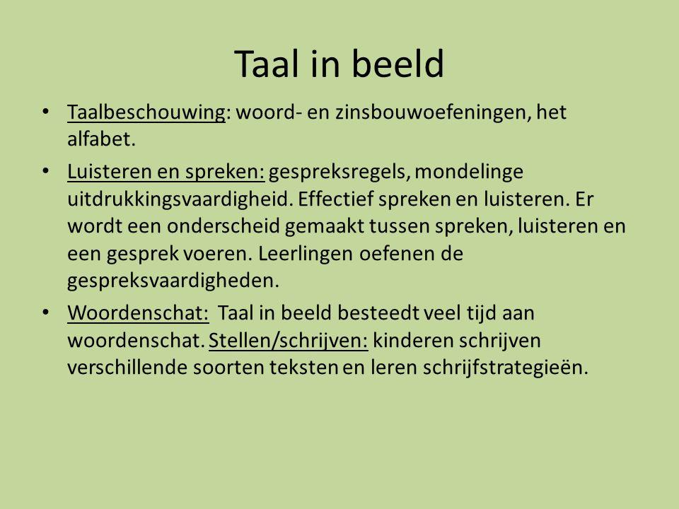 Taal in beeld Taalbeschouwing: woord- en zinsbouwoefeningen, het alfabet.