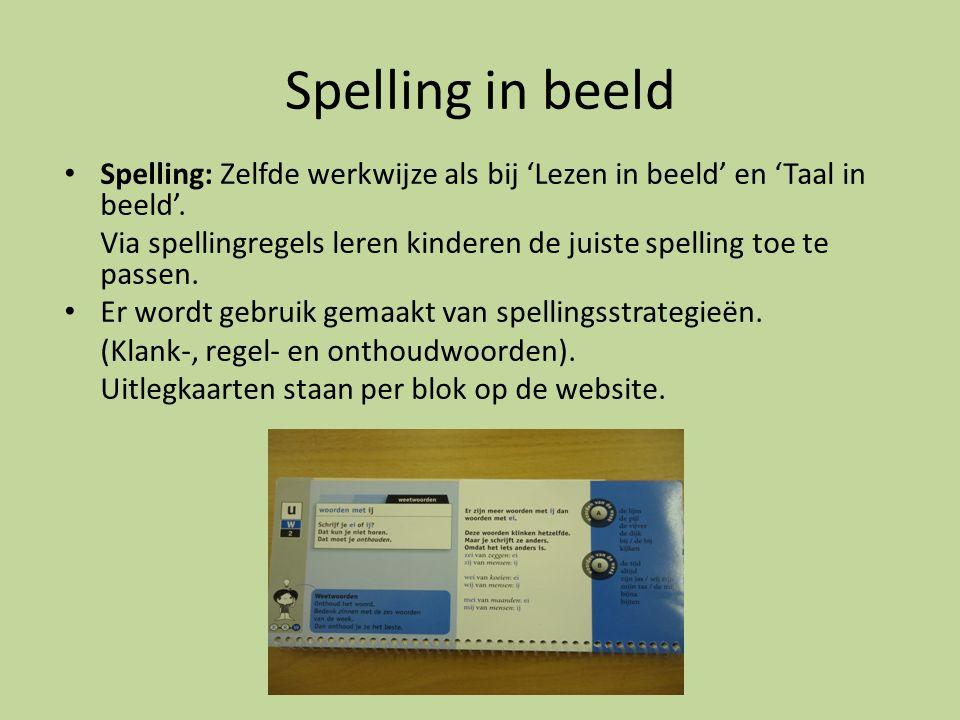 Spelling in beeld Spelling: Zelfde werkwijze als bij 'Lezen in beeld' en 'Taal in beeld'.