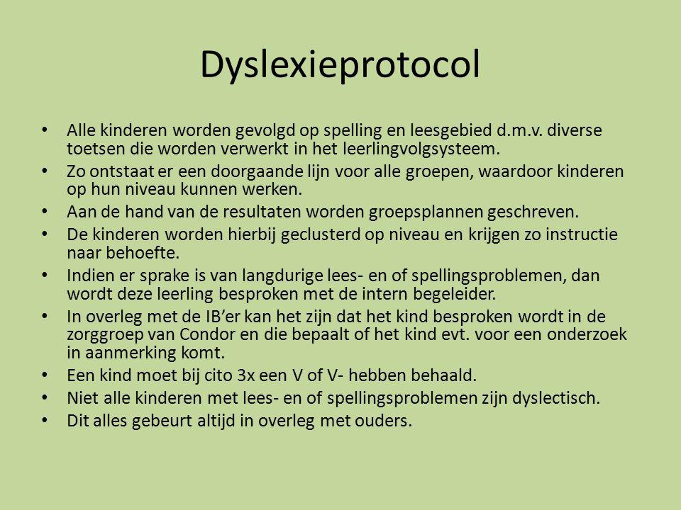 Dyslexieprotocol Alle kinderen worden gevolgd op spelling en leesgebied d.m.v. diverse toetsen die worden verwerkt in het leerlingvolgsysteem.