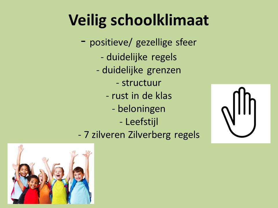 Veilig schoolklimaat - positieve/ gezellige sfeer - duidelijke regels - duidelijke grenzen - structuur - rust in de klas - beloningen - Leefstijl - 7 zilveren Zilverberg regels