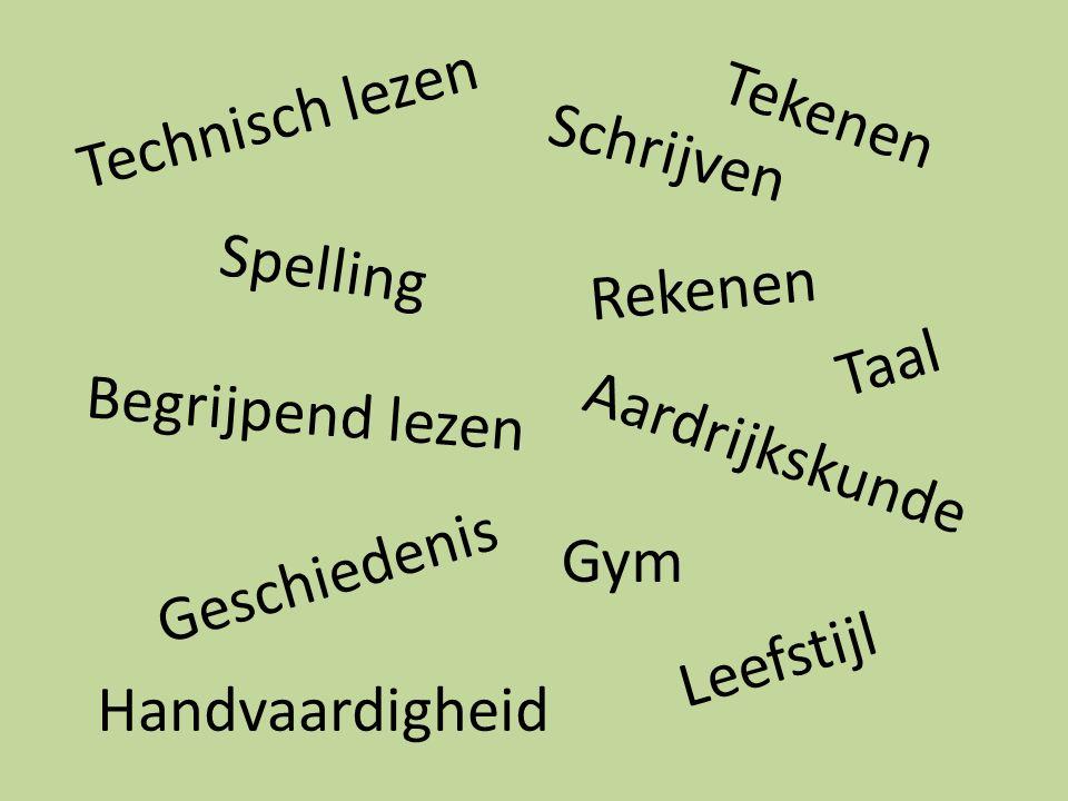 Technisch lezen Tekenen. Schrijven. Spelling. Rekenen. Taal. Begrijpend lezen. Aardrijkskunde.