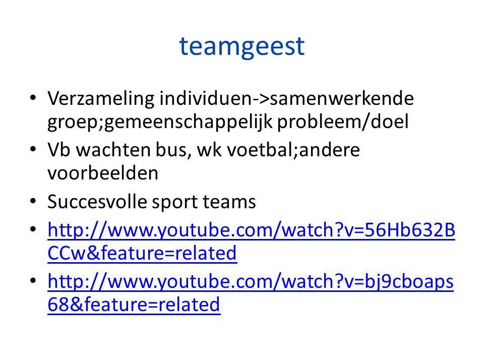 teamgeest Verzameling individuen->samenwerkende groep;gemeenschappelijk probleem/doel. Vb wachten bus, wk voetbal;andere voorbeelden.