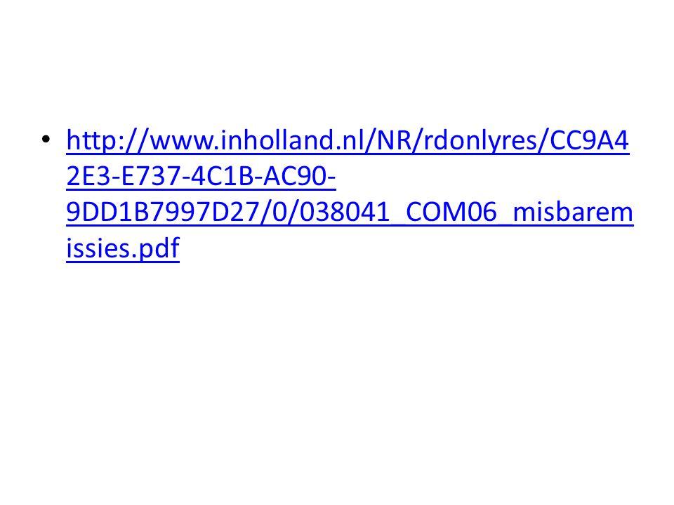 http://www.inholland.nl/NR/rdonlyres/CC9A42E3-E737-4C1B-AC90-9DD1B7997D27/0/038041_COM06_misbaremissies.pdf