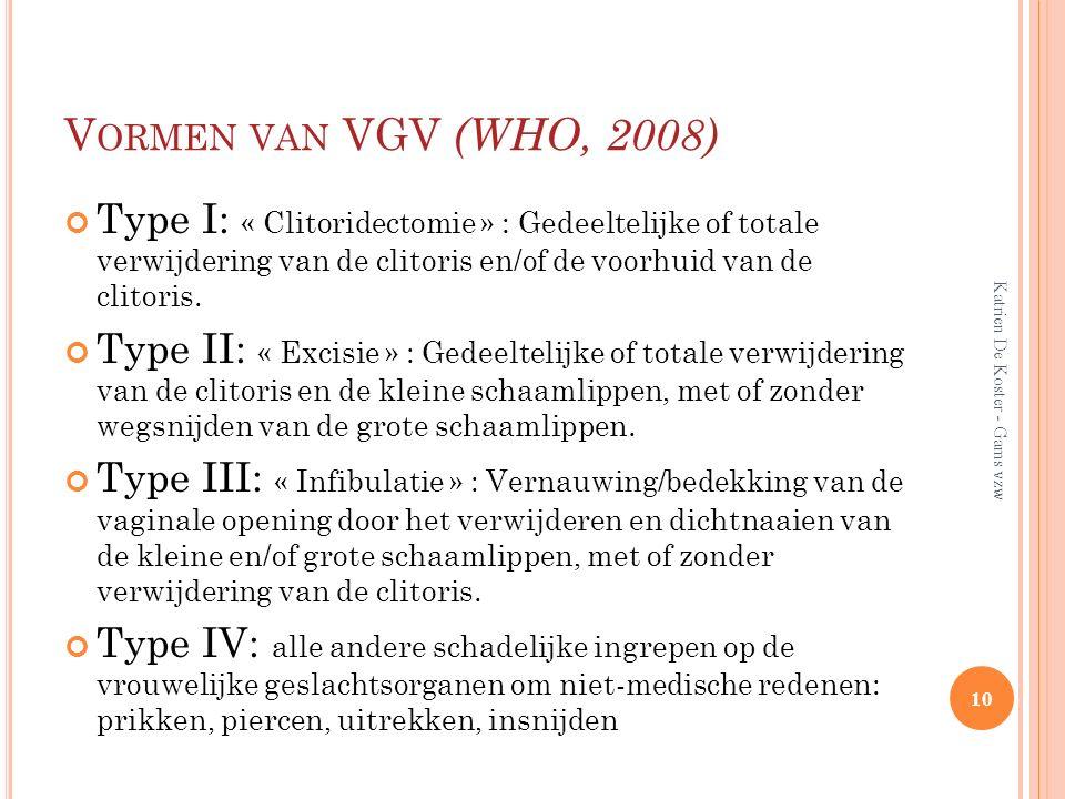 Vormen van VGV (WHO, 2008) Type I: « Clitoridectomie » : Gedeeltelijke of totale verwijdering van de clitoris en/of de voorhuid van de clitoris.