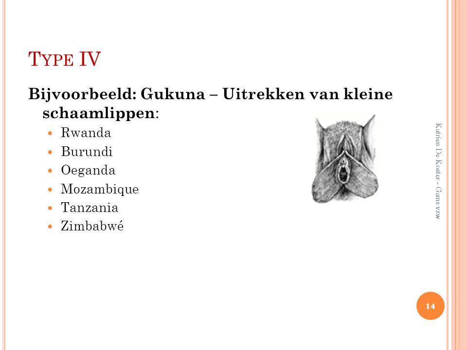 Type IV Bijvoorbeeld: Gukuna – Uitrekken van kleine schaamlippen:
