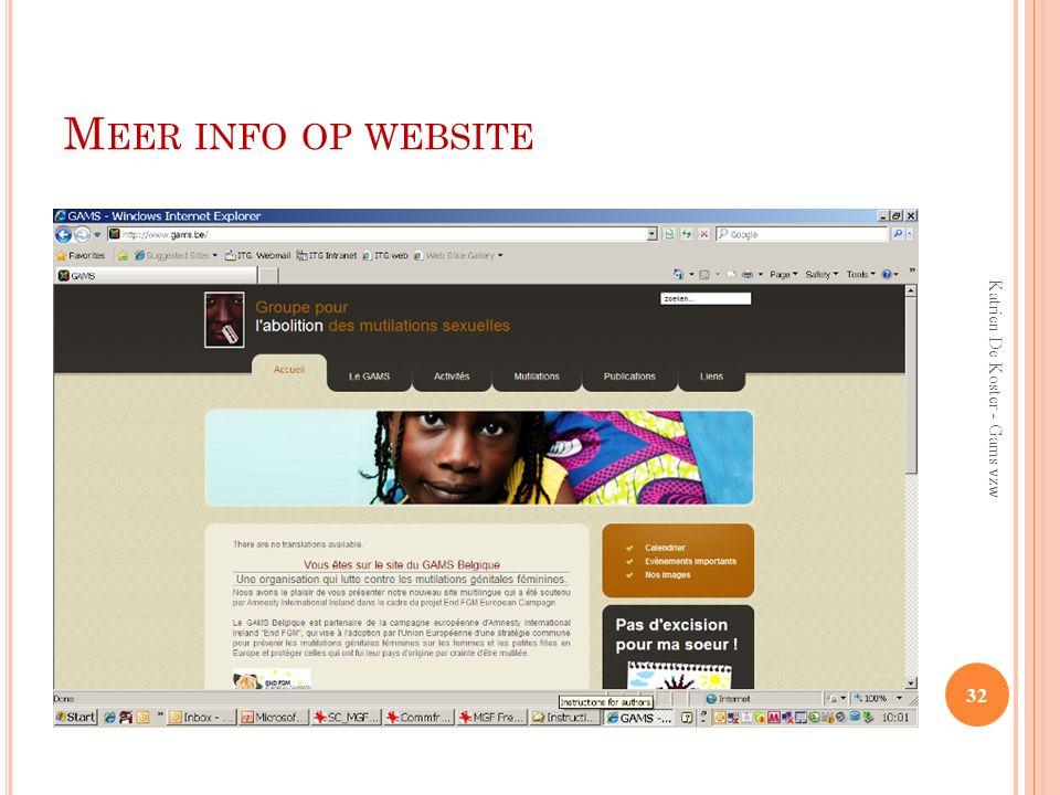 Meer info op website Katrien De Koster - Gams vzw