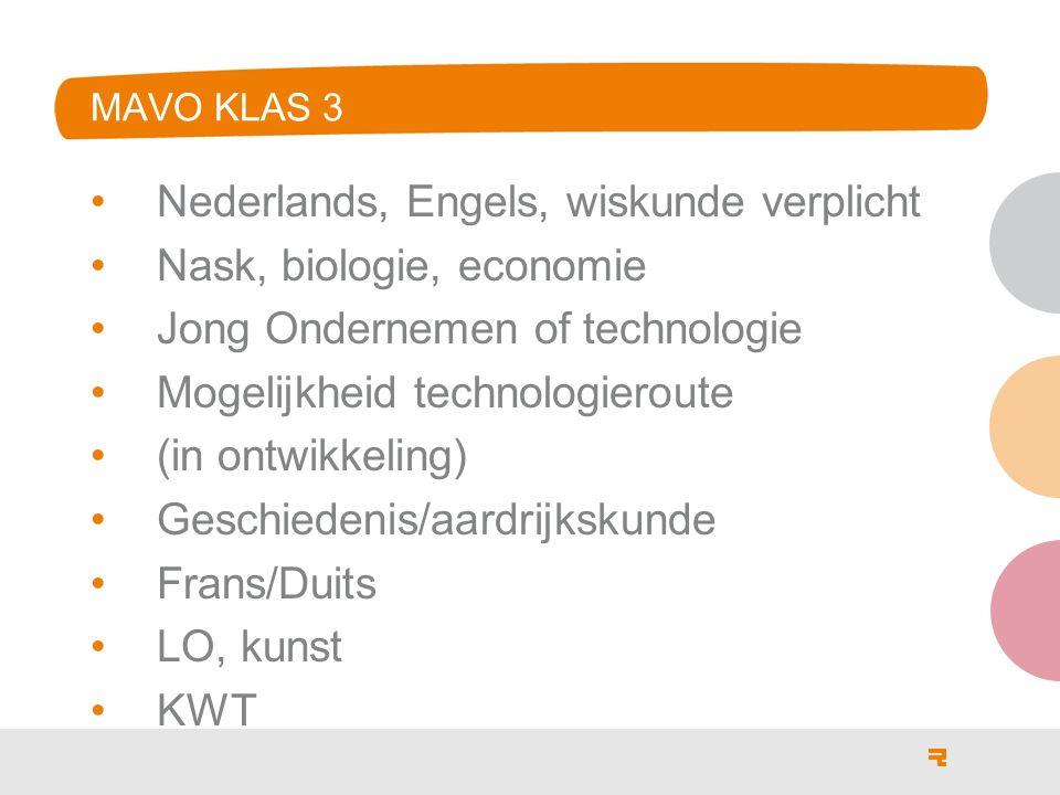 Nederlands, Engels, wiskunde verplicht Nask, biologie, economie