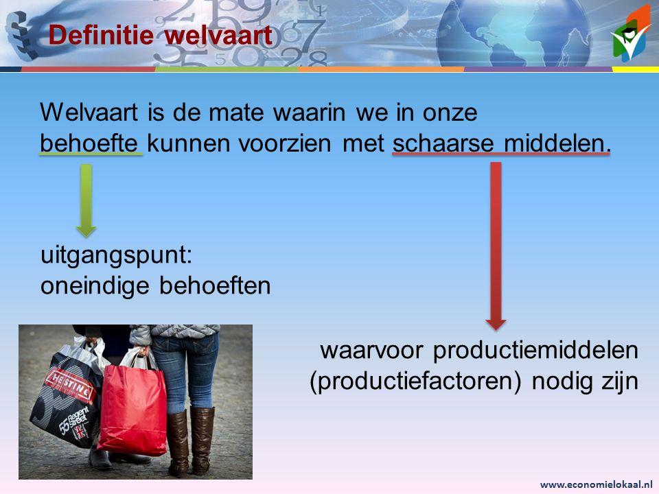 Definitie welvaart Welvaart is de mate waarin we in onze behoefte kunnen voorzien met schaarse middelen.
