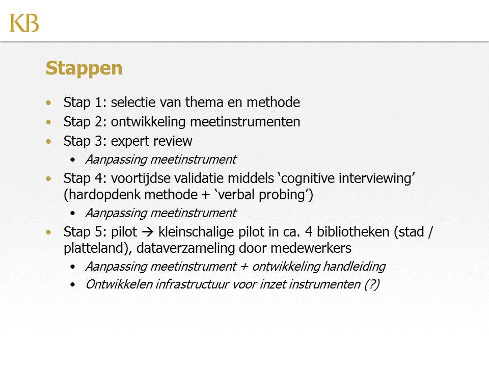 Stappen Stap 1: selectie van thema en methode
