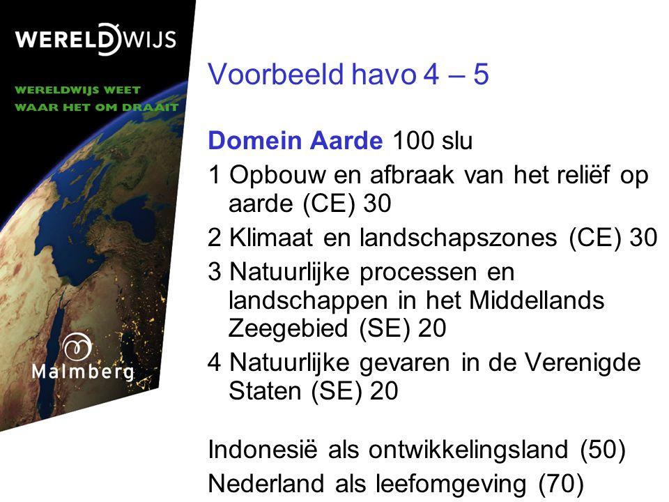 Voorbeeld havo 4 – 5 Domein Aarde 100 slu