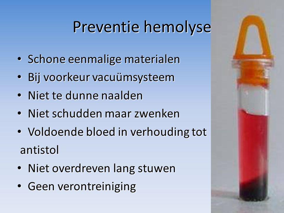 Preventie hemolyse Schone eenmalige materialen