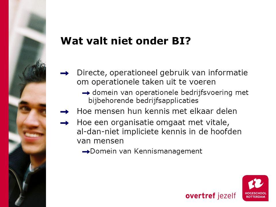 Wat valt niet onder BI Directe, operationeel gebruik van informatie om operationele taken uit te voeren.