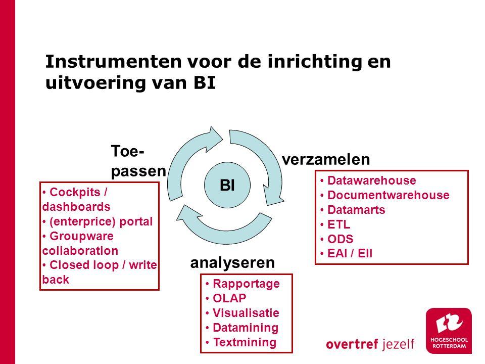 Instrumenten voor de inrichting en uitvoering van BI