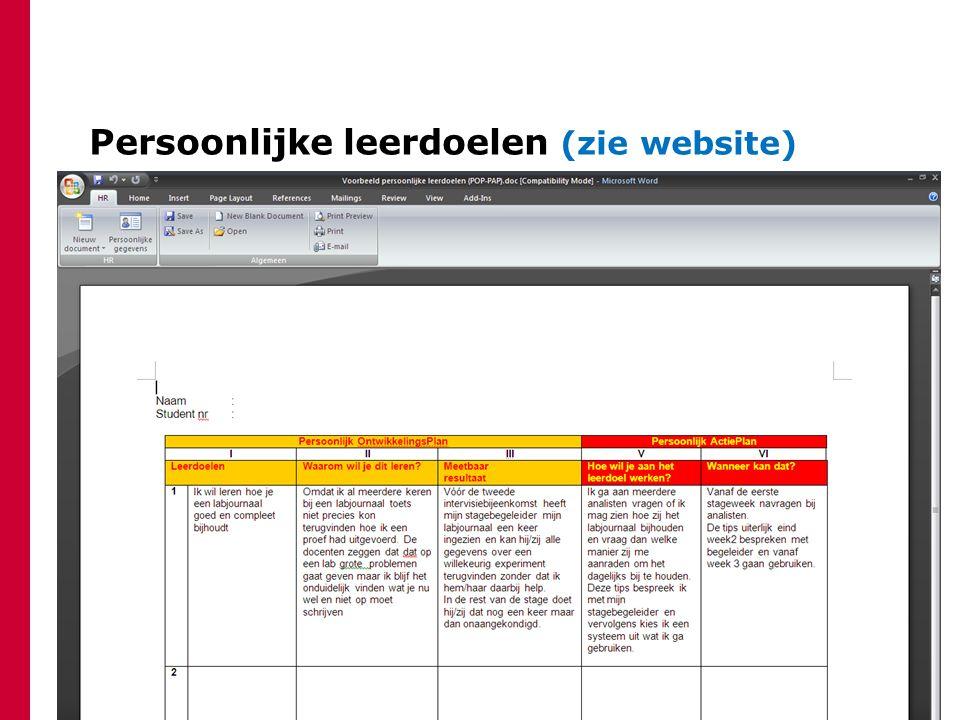 Persoonlijke leerdoelen (zie website)