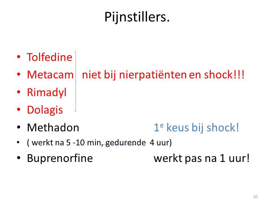 Pijnstillers. Tolfedine Metacam niet bij nierpatiënten en shock!!!