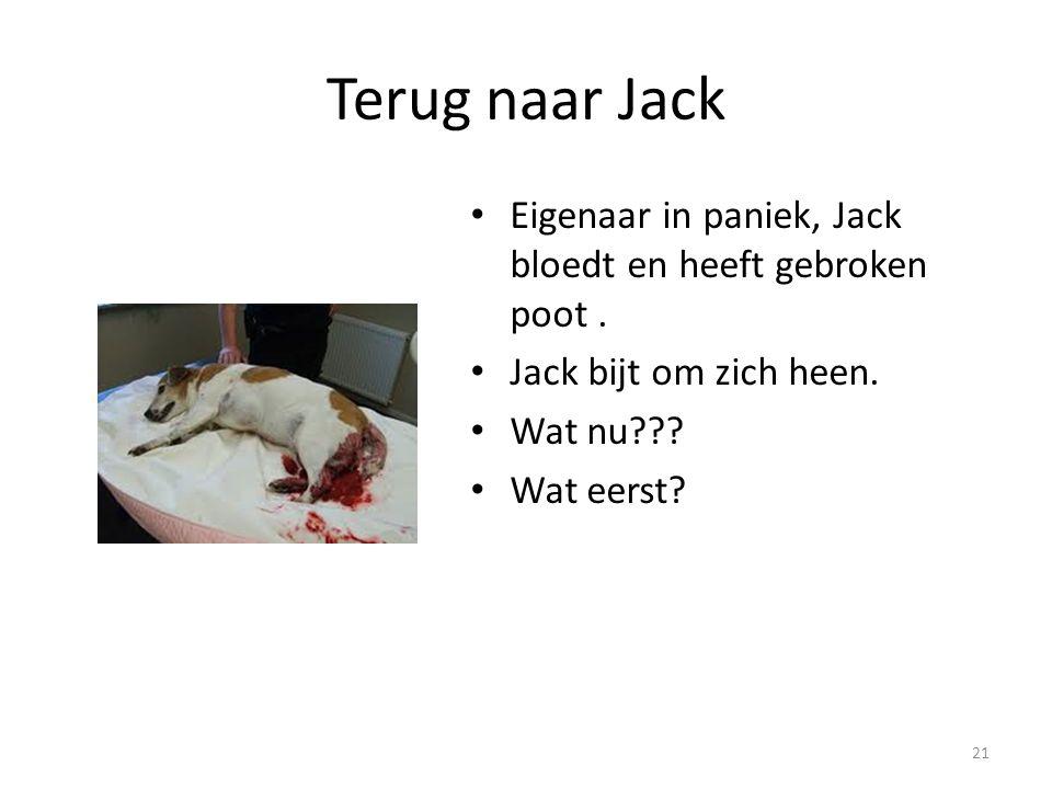 Terug naar Jack Eigenaar in paniek, Jack bloedt en heeft gebroken poot . Jack bijt om zich heen. Wat nu
