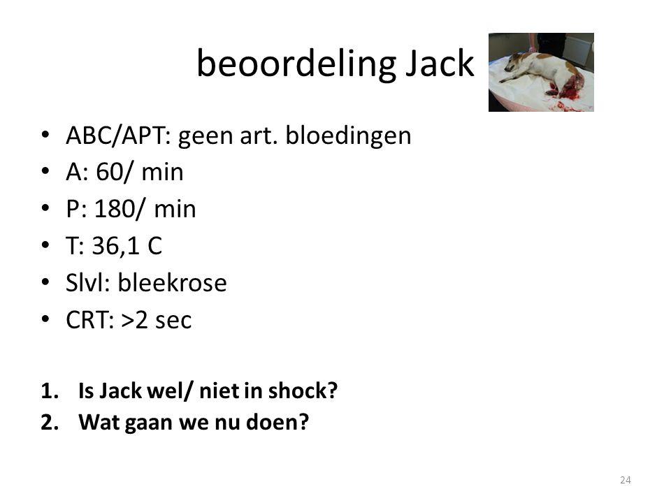 beoordeling Jack ABC/APT: geen art. bloedingen A: 60/ min P: 180/ min
