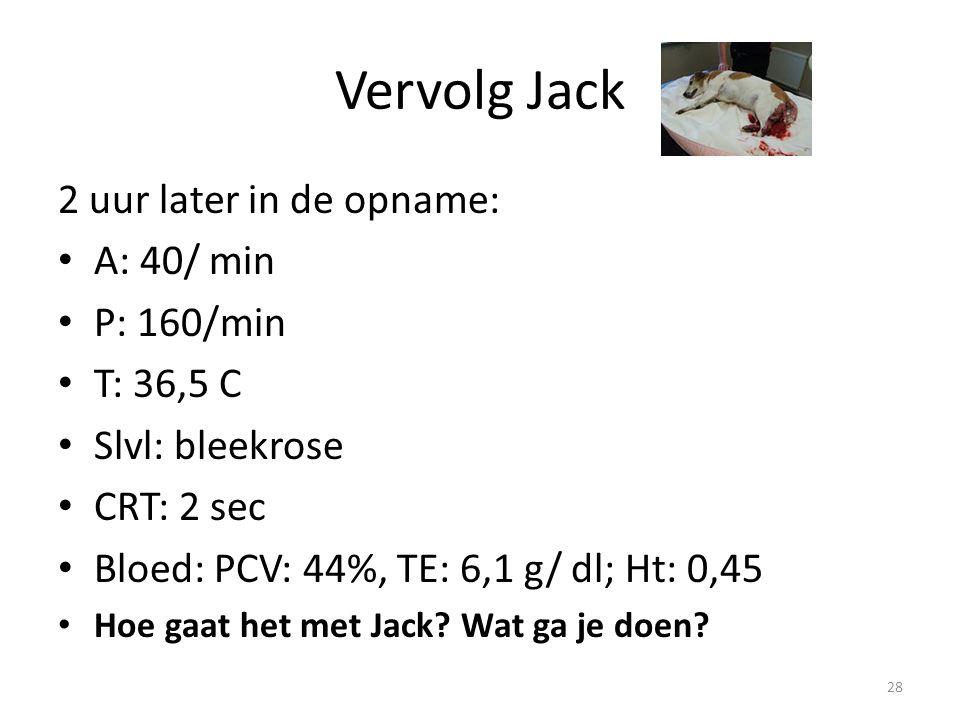 Vervolg Jack 2 uur later in de opname: A: 40/ min P: 160/min T: 36,5 C