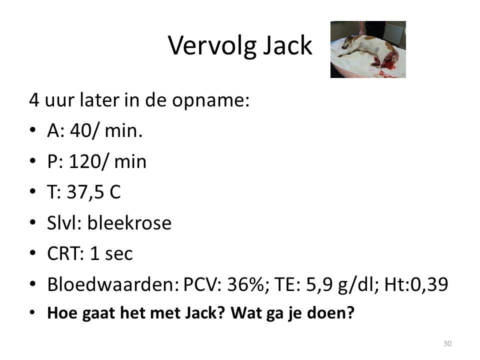 Vervolg Jack 4 uur later in de opname: A: 40/ min. P: 120/ min