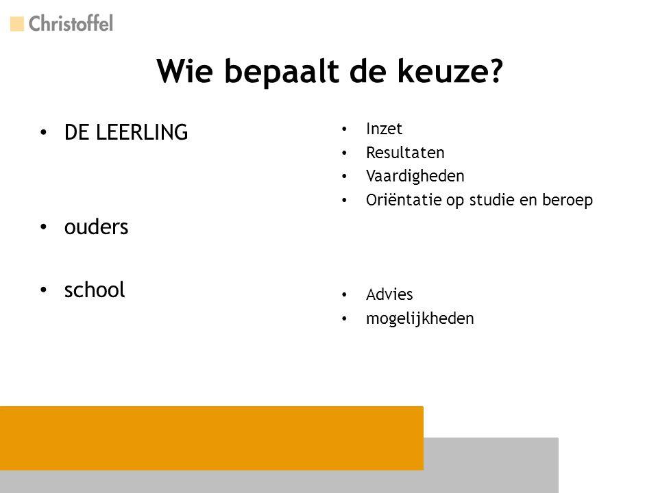 Wie bepaalt de keuze DE LEERLING ouders school Inzet Resultaten