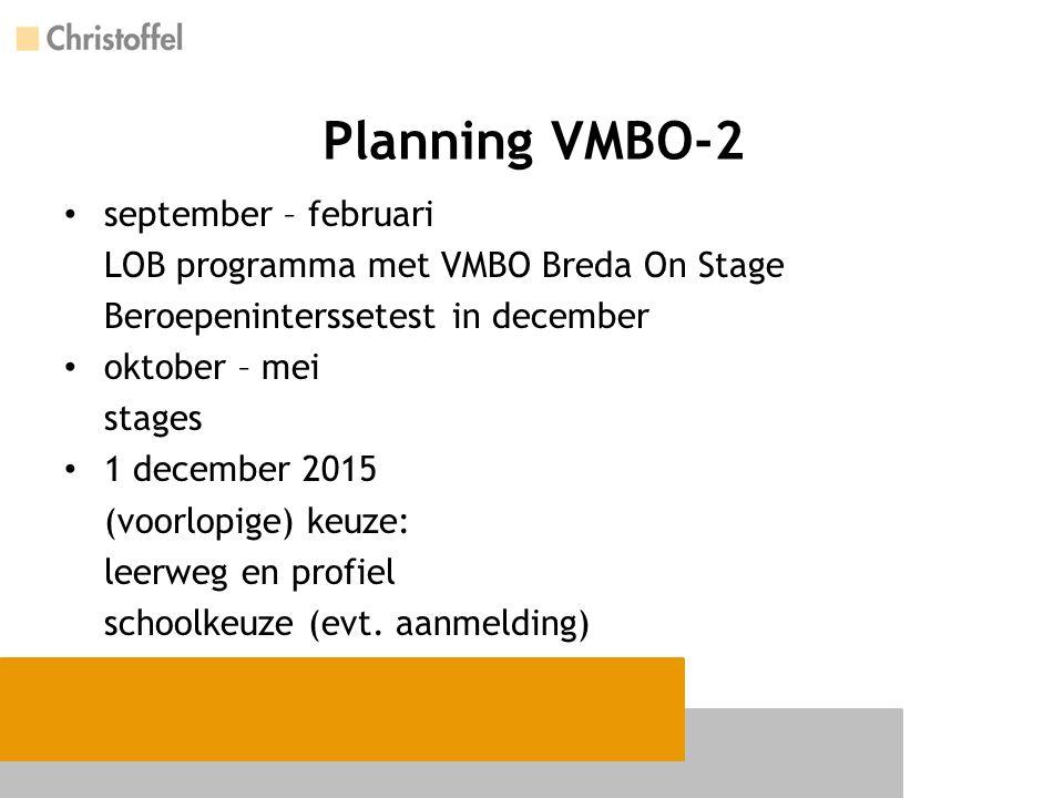 Planning VMBO-2 september – februari